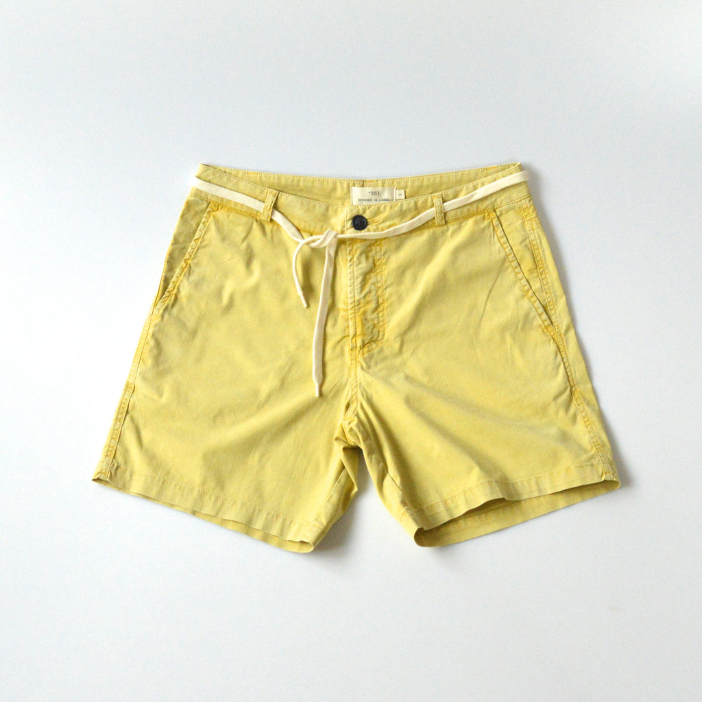 Mens yellow cotton shorts front