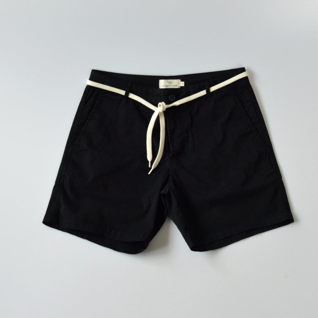 Mens black cotton shorts front