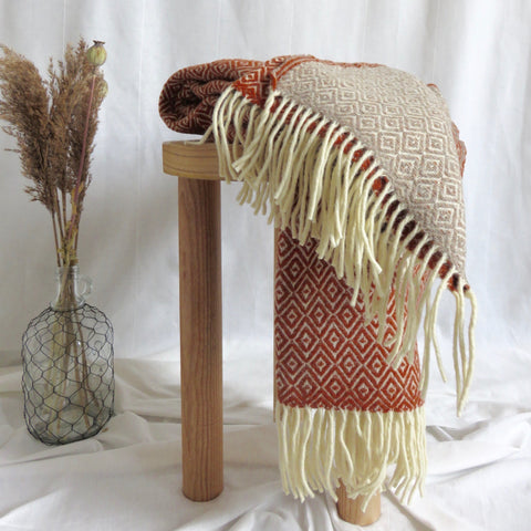 Two Tone Blanket | Rust & Natural