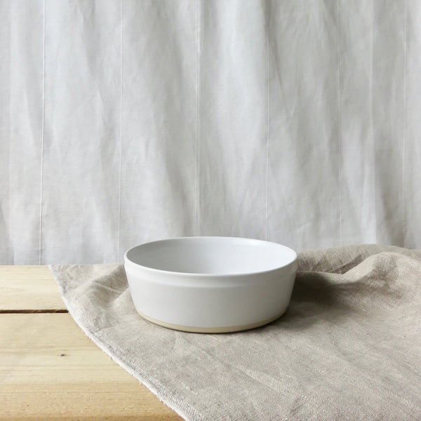 Dipped stoneware serving bowl chalk