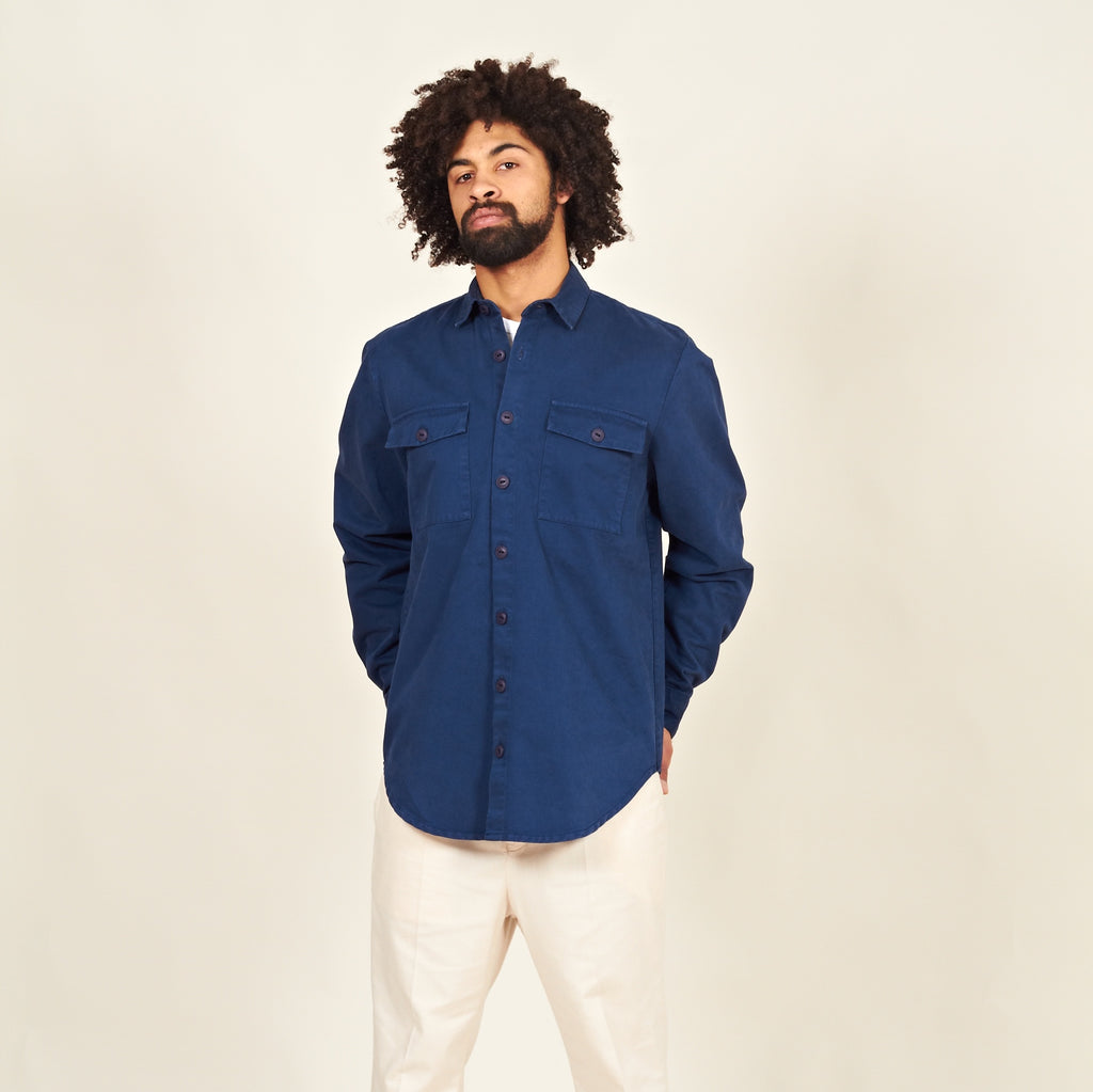 Luso heavy cotton shirt blue front