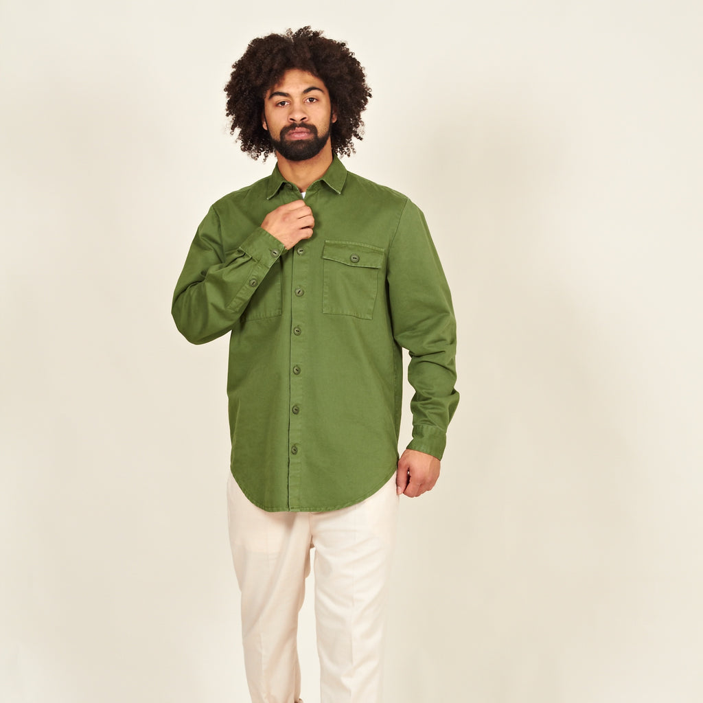 Luso heavy cotton shirt green front