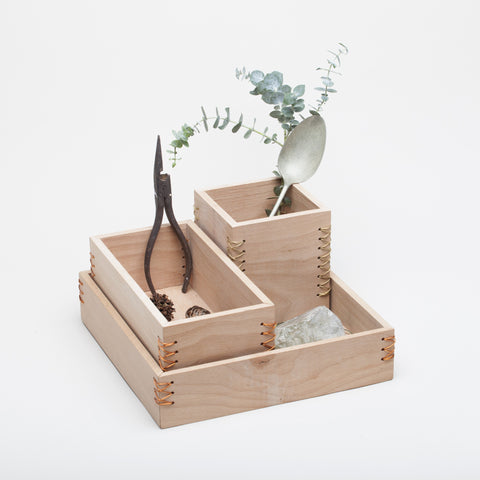 Wood + metal desk organiser