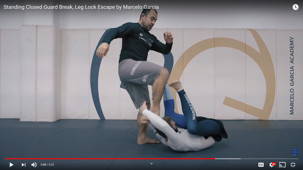 Standing Closed Guard Break, Leg Lock Escape by Marcelo Garcia