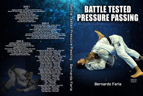 Cover or instructional 4 DVD set called Battle Tested Pressure Passing taught by Bernardo Faria