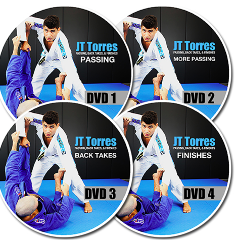 4 DVDs of JT Torres teaching BJJ techniques on passing back takes and more