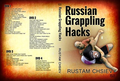 "The cover for a Russian grappling technique instructional DVD called ""Russian Grappling Hacks"" taught by submission wrestler Rustam Chsiev"