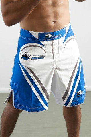 Impassable Fight Shorts (White + Blue)