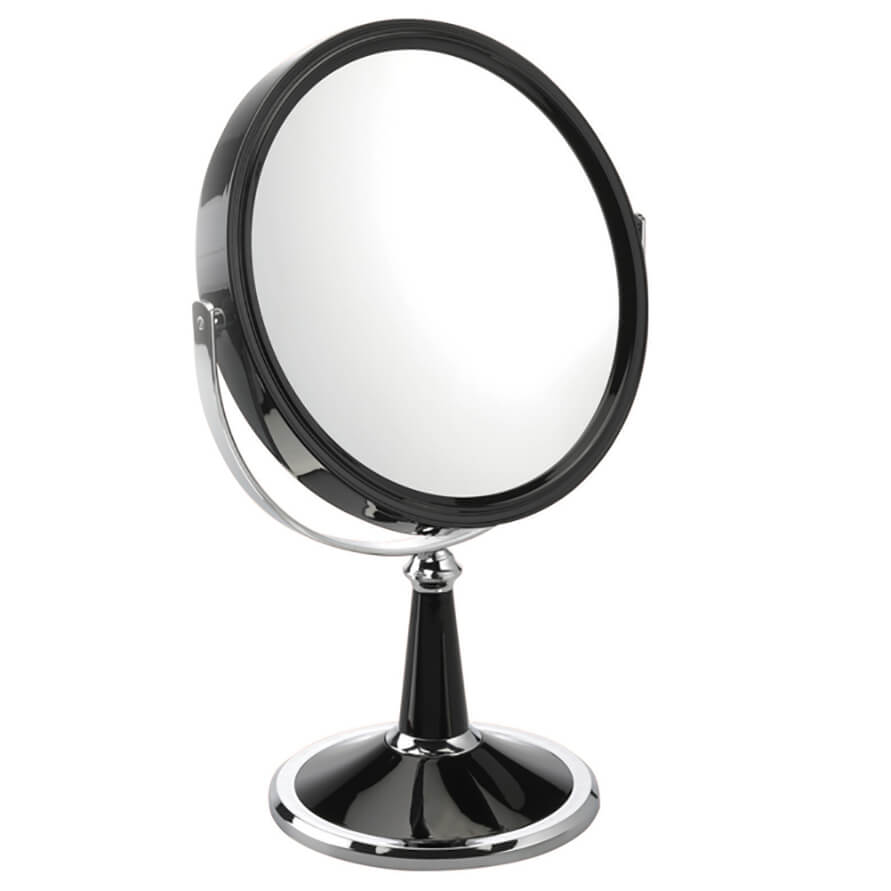 Black & Chrome Pedestal Makeup Mirror 20cm 10x magnification