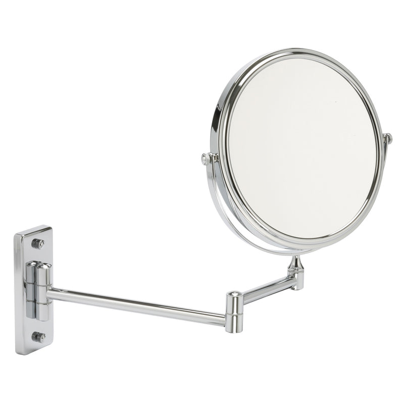 Round 30cm Wall Mounted Extending Bathroom Mirror 5x mag