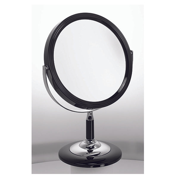 Black & Chrome Makeup Mirror 18cm 5x mag
