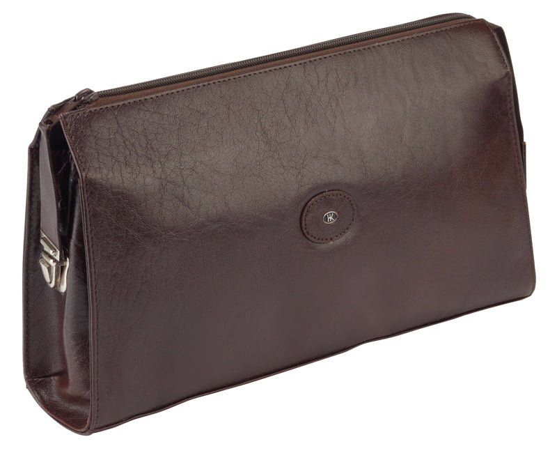 Hans Kniebes Dark Brown Leather Wash-bag for Men 77040brn German Travel Bag