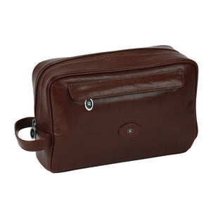 Hans Kniebes Brown Luxury Leather Washbag for Men 77050brn German Travel Bag