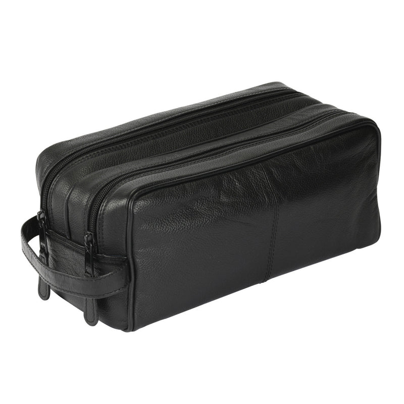 Sonnenschein German made Leather Wash-bag for Men 77800blk in Black