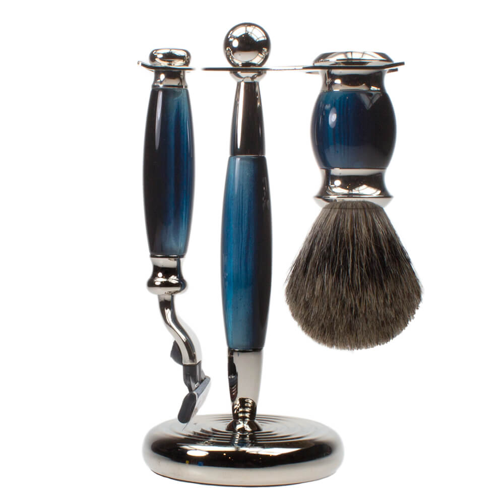 Vulfix Edwardian Collection 3 piece Pure Badger Shaving Kit for Men Opal Blue