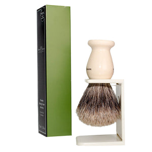 Edwin Jagger Shaving Gift Set, Badger Brush, Stand, Aloe Vera Shaving Cream Tube