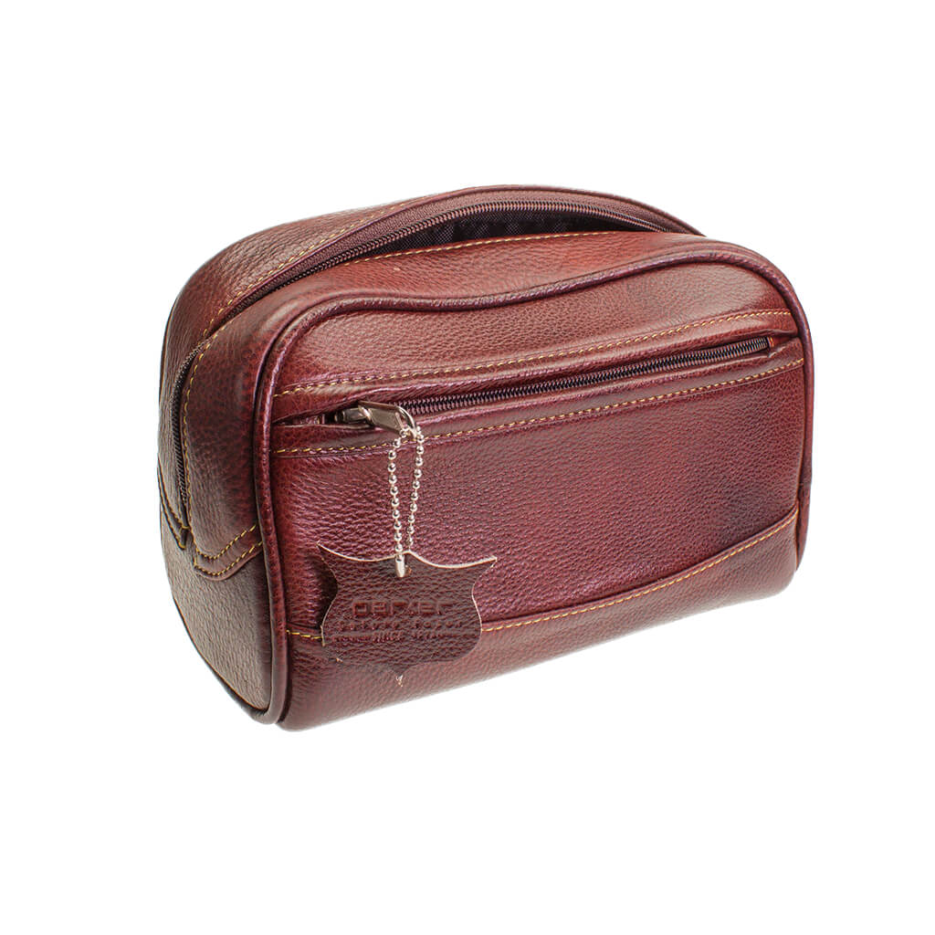Large Brown Leather Travel Wash Bag from Parker Safety Razors
