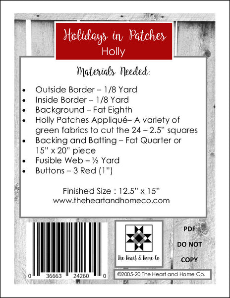 HNH10 Holidays in Patches Holly PDF Pattern