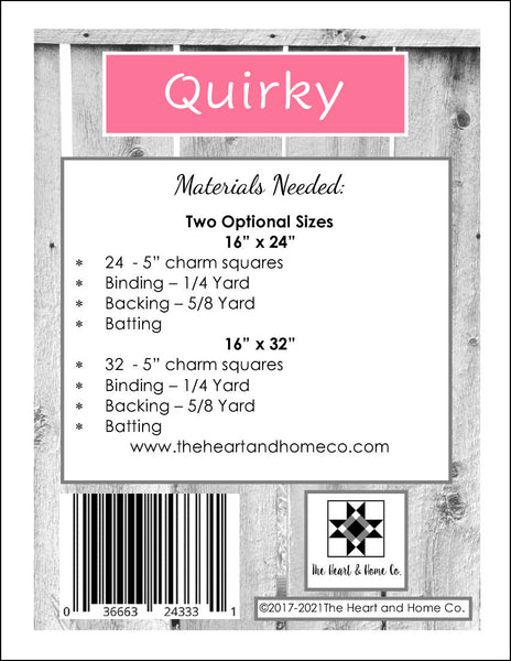 HNH203 Quirky Quilt Paper Pattern