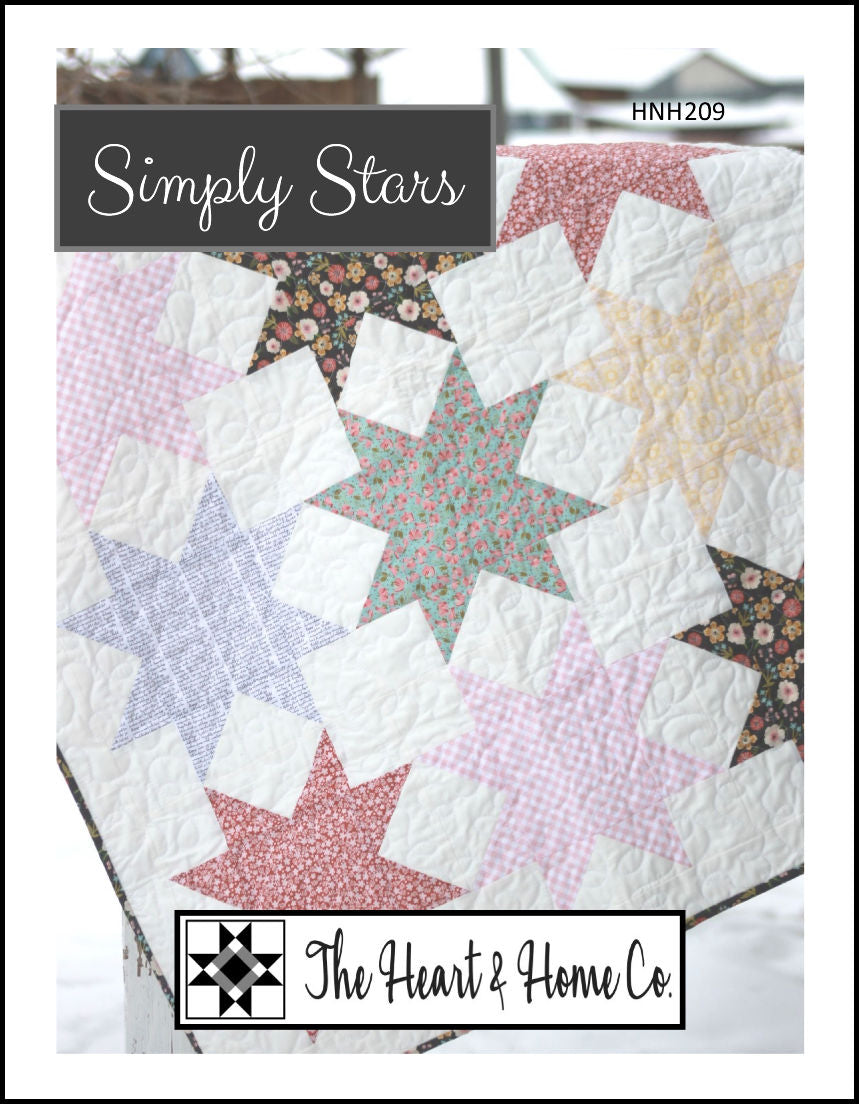 HNH209 Simply Stars Quilt Pattern ~ Paper Pattern ~ Fat quarter friendly