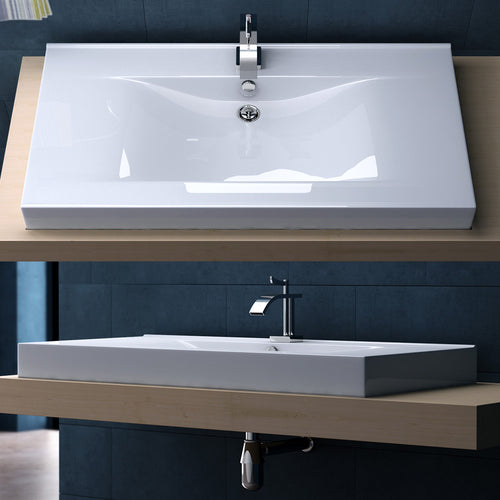 Large Counter Top Rectangle Ceramic Basin 1000 x 480mm | Bruessel 851