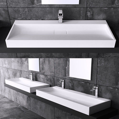 Rectangular Wall Hung & Counter Top Cast Stone Basin | Concealed Waste Design Variety Sizes | Colossum 19