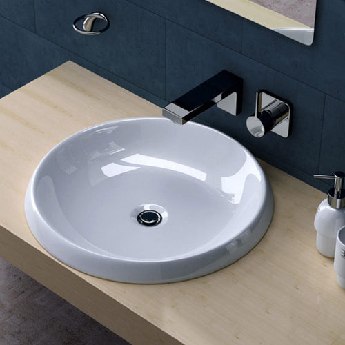 Round Semi Recessed Ceramic Basin 530mm | Bruessel 103