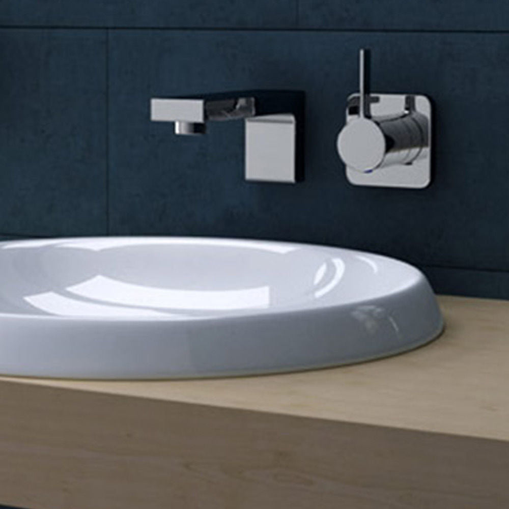 Bruessel 103 ceramic basin white, vanity unit counter top.