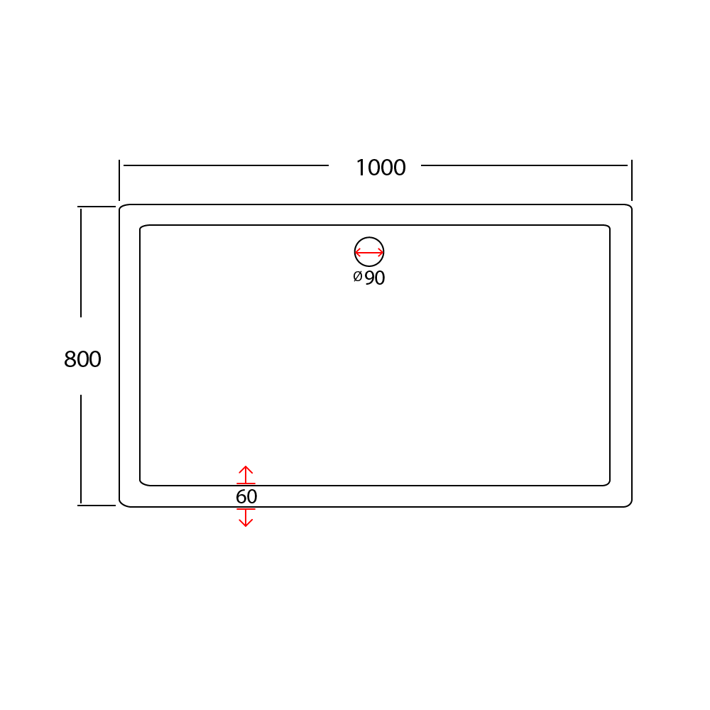 1000x800 shower tray