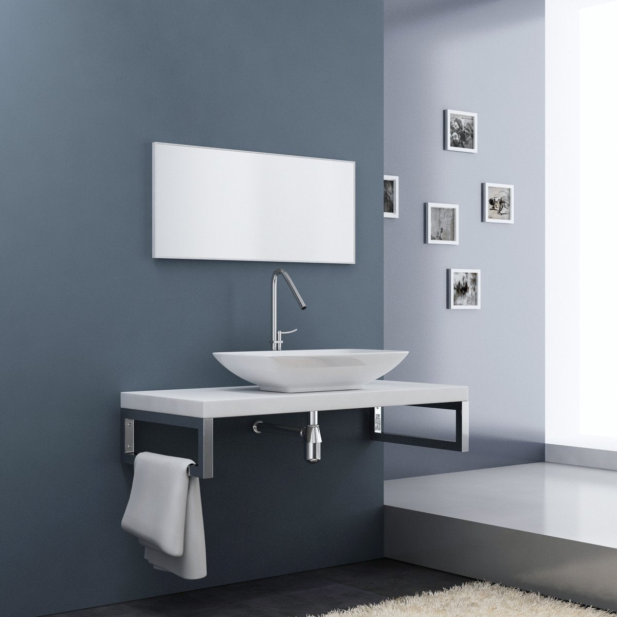 Ferrara Resin Stone Counter Top Wall Hung Basin Shelf with Stainless Steel Brackets