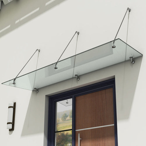 Durano Clear Glass Canopy (13mm) with Steel Support Brackets