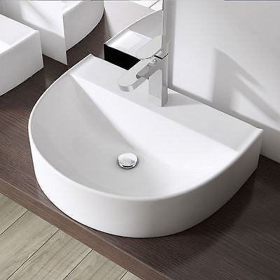 Modern curved D shape bathroom sink