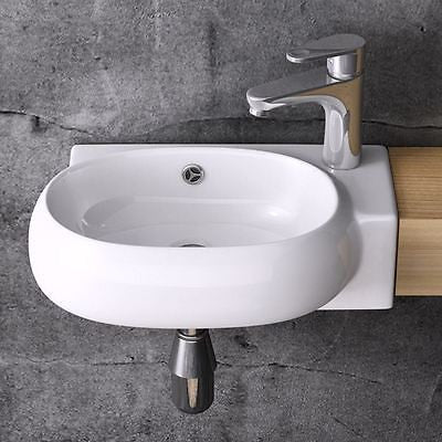 Durovin white glossy ceramic basin sink wall hung