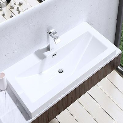 Semi Recessed Rectangular Stone Resin Basin 1000 x 480 x 130mm | Colossum 01 -1000mm