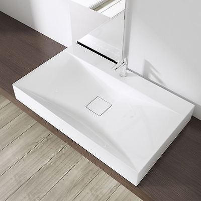 Counter Top Rectangular Cast Stone Basin | Concealed Waste | Colossum 810