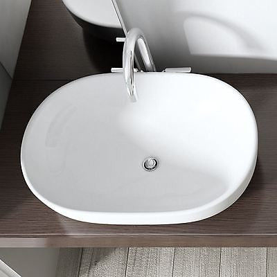 Large Counter Top Oval Ceramic Basin 600 x 480mm | Bruessel 322