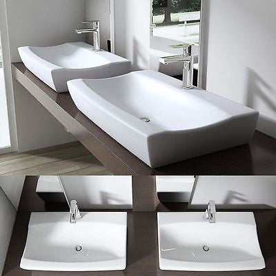 Durovin Bathrooms Bruessel 890 ceramic basin sink, one tap hole shallow fill design.