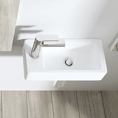 Cloakroom Wall Hung Compact Ceramic Sink 360 x 180mm | Bruessel 3053R