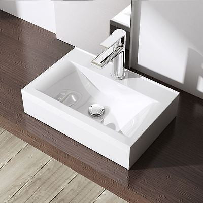 Square Ceramic Cloakroom Counter Top Basin 455 x 310mm | Bruessel 118C