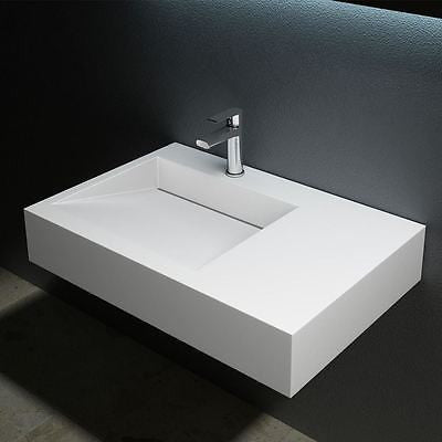 Colossum 11 Stone basin sink white gloss, counter top mountable designed.