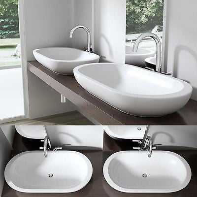Durovin white gloss ceramic basin, wide oval bowl side by side.
