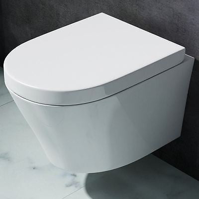 Durovin Bathrooms White Ceramic Square Wall Hung Toilet Pan with Soft Close Seat