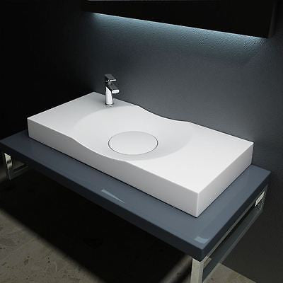 wide slim ultra modern bathroom sink