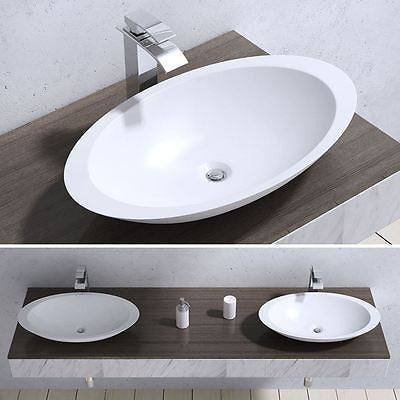 Counter Top Oval Cast Stone Bathroom Basin 593 x 351mm | Colossum 802