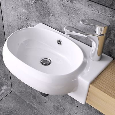 Durovin Bruessel 001 white ceramic basin, right tap hole wall hung.