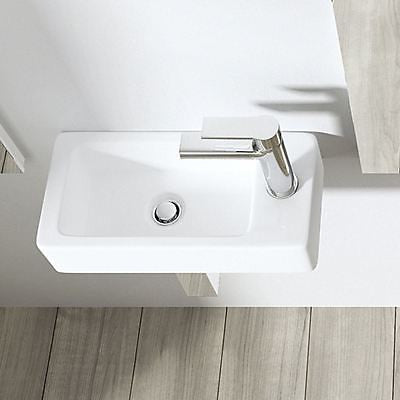 Cloakroom Wall Hung Compact Ceramic Sink 360 x 180mm | Bruessel 3053L