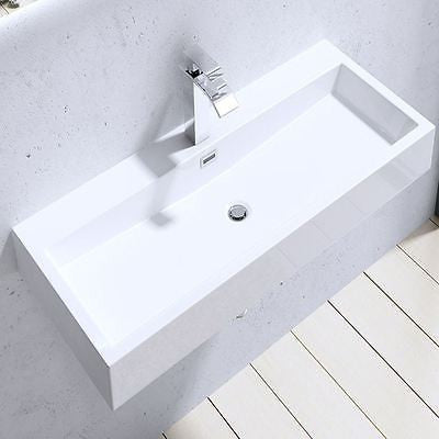 Wall Mounted Rectangular Cast Stone Basin variety size | Colossum 6