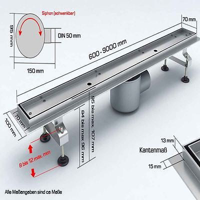 Modern linear shower drain channel with tile