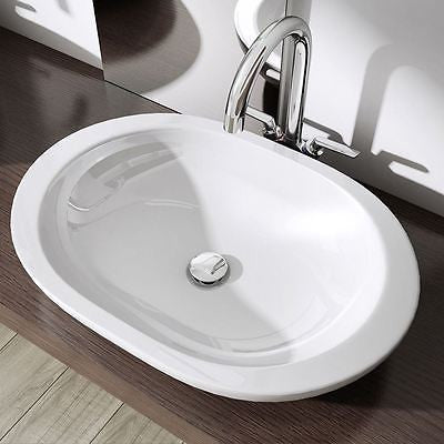 Durovin oval shaped gloss white ceramic basin, deep fill.