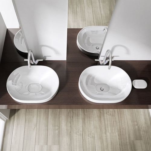 Ceramic Oval Semi Recessed Counter Top Basin 580 x 400mm | Bruessel 5006A